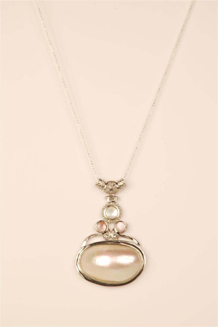 Shell Pendant With 3mm Mesh Chain Necklace Brass Lead And